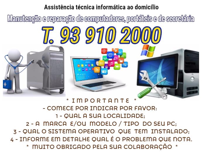 Assistência técnica informática ao domicilio manutenção