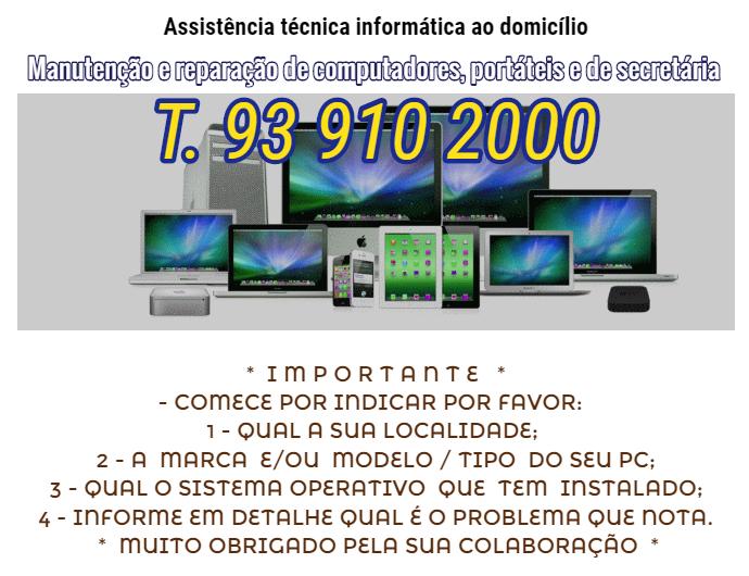 Assistência técnica informática ao domicilio reparações