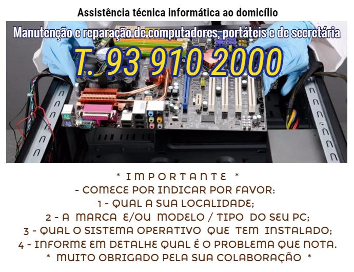 Assistência técnica informática ao domicilio