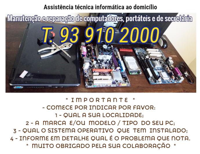 Assistência técnica informática ao domicilio reparar
